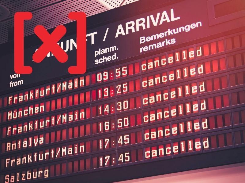 tablero de llegadas de vuelos cancelados en mercurio retrógrado senda astral